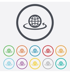 Globe sign icon round the world arrow symbol vector