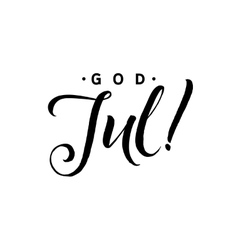 God jul merry christmas calligraphy template in vector