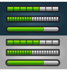 Green Striped Progress Bar Set vector image