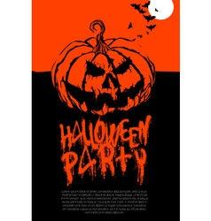 Halloween pumpkin horror party poster vector image