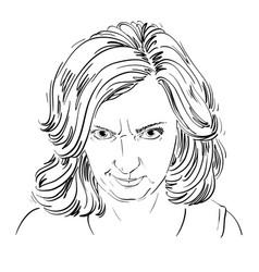 Hand-drawn portrait of white-skin arrogant woman vector