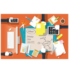Hands of office worker and supplies stationery vector
