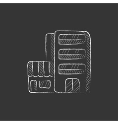 Hotel building Drawn in chalk icon vector image