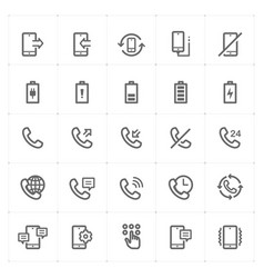 icon set - phone and calling vector image vector image