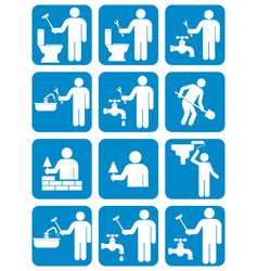 mason worker icons set vector image vector image