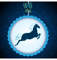 New Year2014 symbol blue horse card vector image