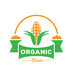 organic corn logo with rock mountain vector image