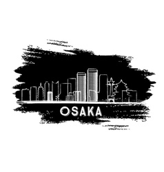 Osaka skyline silhouette hand drawn sketch vector