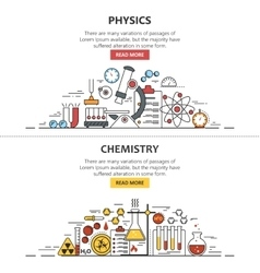 Science banner concepts in line style vector