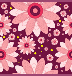Seamless pattern of flowers and circles vector