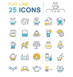 Set Flat Line Icons Tea vector image vector image