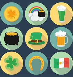 Set of icons on St Patricks Day Flat style Shadow vector image