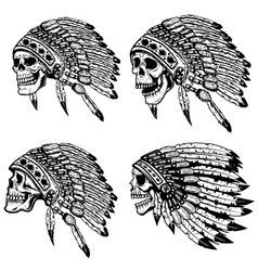Set of the skulls in native american headdress vector