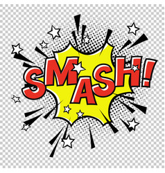 Smash comic sound comic speech bubble halftone vector