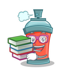 student with book aerosol spray can character vector image vector image