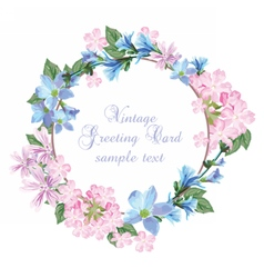 Summer Vintage wreath Greeting Card vector image
