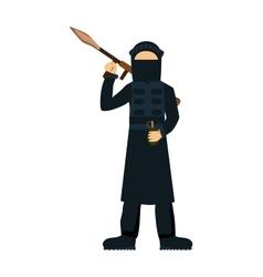 Terrorist isolated on white background vector