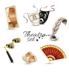 Theater attributes flat pictograms set vector