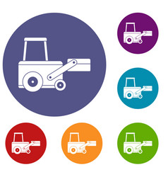 Truck to lift cargo icons set vector