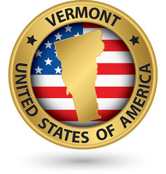 Vermont state gold label with state map vector