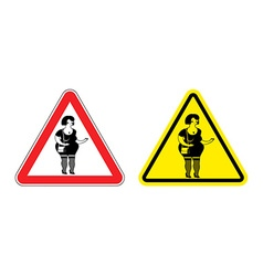 Warning sign prostitute attention dangers yellow vector