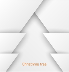 White abstract christmas tree paper applique vector image