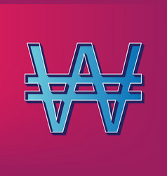 Won sign blue 3d printed icon on magenta vector