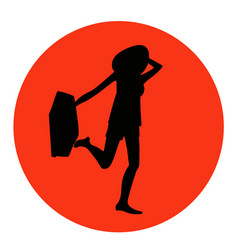 young pretty traveller with a suitcase icon vector image vector image