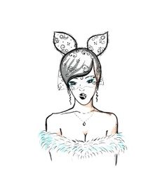 Young woman bunny ears and lace vector