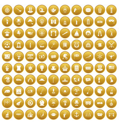 100 top hat icons set gold vector
