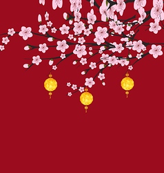 Traditional chinese new year blossom and lantern vector