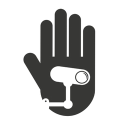 Hand human stop video camera silhouette vector