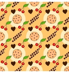 Seamless pattern with delicious chocolate chip vector