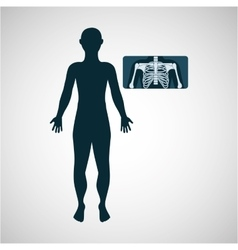 Silhouette man x ray anatomy body vector