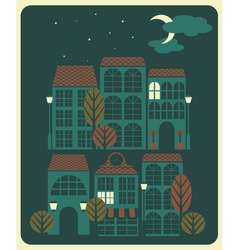 Night in a little town vector image