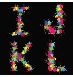 Colorful alphabet with blots IJKL vector image