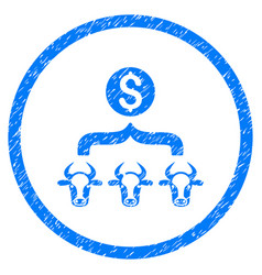 Cattle result money rounded grainy icon vector