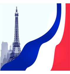 Paris with french flag vector