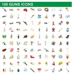 100 guns icons set cartoon style vector image