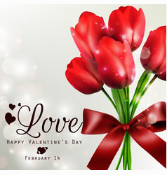 red tulips beautiful with red ribbon background vector image