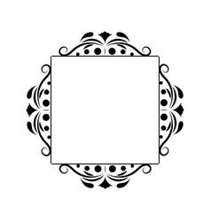 Black contour vintage classic square monogram vector