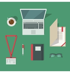 Classic office workplace desk vector