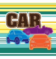 Stripes background different cars embroidery vector