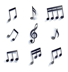 Black monochromatic musical notes and symbols vector