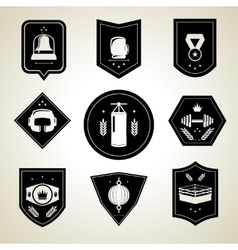 Boxing emblems set black vector