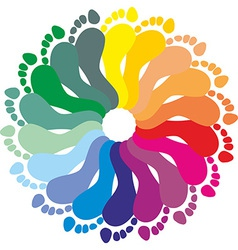 Color rraces of feet imprints vector image