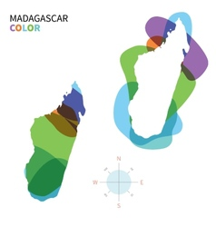 Abstract color map of madagascar vector