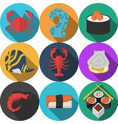 Colored seafood flat icons vector
