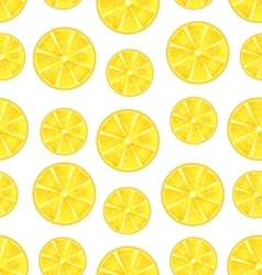 Seamless texture with slices of lemons vector