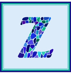 Z - letter - green watercolor mosaic vector